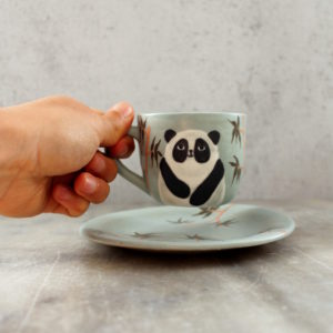 ensemble tasse et sous-tasse expresso panda bleu et bambous
